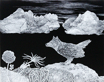 Scratchboard drawing by Sevi Akarcay