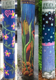 Three painted poles