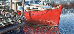 Red Boat with Lobster Pots