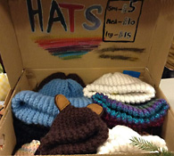 Knitted hats on display