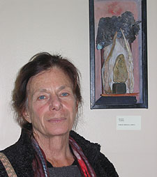 Barbara with Shrine assemblage at gallery