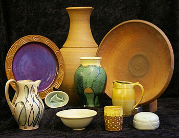 Group shot of ceramics on display at Through the Music
