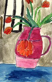 Red Tulips, Blue Table