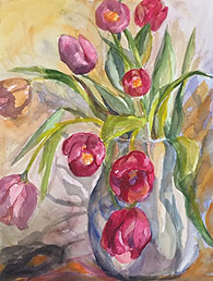 Watercolor of tulips by Sylvia Ryder