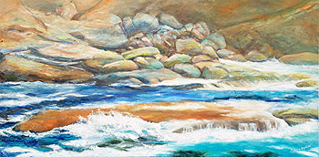 Wave and rocks by Sylvia Ryder