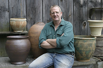 Steve Procter with an array of pots