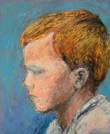 Painting of Rudi, a mixed-race child