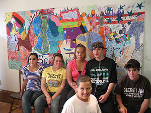 Mural with Youth Services' participants