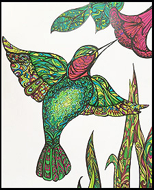 Hummingbird Zentangle by Kathleen Kennedy